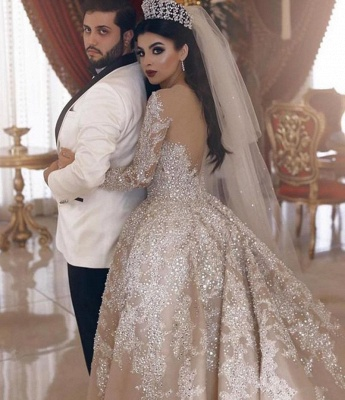 V-neck Lace Appliques Ball Gown Long Sleeves Wedding Dresses_2