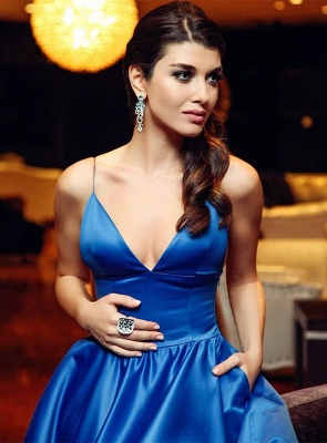 Shiny A-line Blue Simple Evening Gowns Spaghettis-Straps V-neck Prom Dresses_4