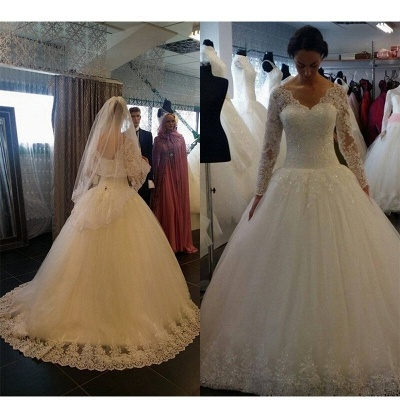 Elegant Sequins Lace Ball Long Sleeves Tulle Gown Wedding Dresses_3