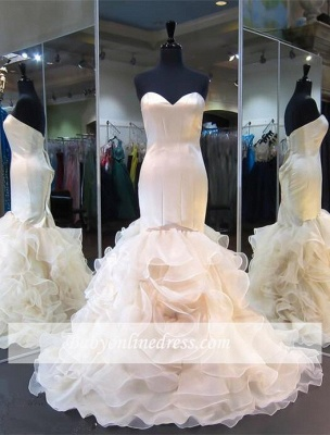 Sweetheart Mermaid Ruffles White Modest Sleeveless Lace-up Evening Gown_4
