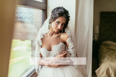Elegant Lace Sweetheart Princess Tulle Beadings Wedding Dresses_1