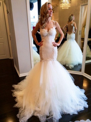 Lace Backless Sweetheart Vintage Mermaid Wedding Dresses | Straps Tulle Bridal Gown_3