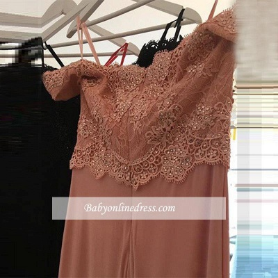 Sexy Cheap Pink Off-the-Shoulder Lace Long Sheath Evening Dresses with Beading_4