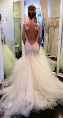 Lace Backless Sweetheart Vintage Mermaid Wedding Dresses | Straps Tulle Bridal Gown_4