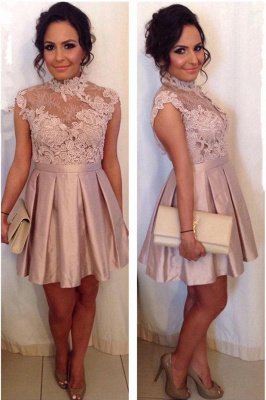 High Neck Cocktail Dresses Lace Appliques Pink Short Homecoming Dress_1