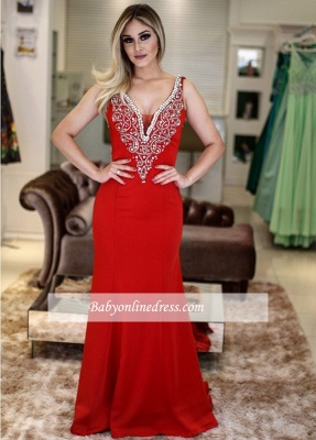 V-Neck Sleeveless Mermaid Beading Sexy Prom Dresses_4