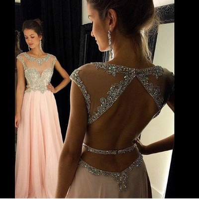 Pink Chiffon Prom Dresses Crystals Beaded Open Back Long A-line Formal Evening Gowns_1