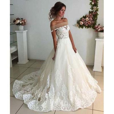Elegant Puffy Wedding Dresses | Off-the-Shoulder Lace Appliques Bridal Gowns_3