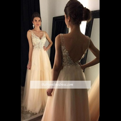 2018 Champagne Lace A-line Open-Back Long V-Neck Prom Dresses with Beadings BA4046_1