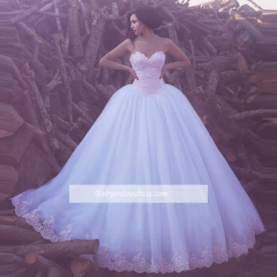 Elegant Appliques Tulle Bridal Gowns Sweetheart Ball Wedding Dresses_1