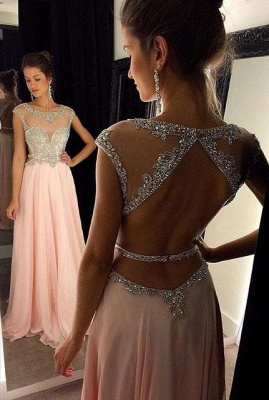 Pink Chiffon Prom Dresses Crystals Beaded Open Back Long A-line Formal Evening Gowns_3