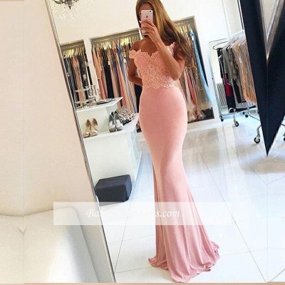 Sexy Cheap Pink Off-the-Shoulder Lace Long Sheath Evening Dresses with Beading_1