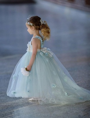 Romantic Princess Flower Girl's Dresses | Light Sky Blue Ball Gown Long Girl's Party Dress_4