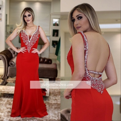 V-Neck Sleeveless Mermaid Beading Sexy Prom Dresses_3