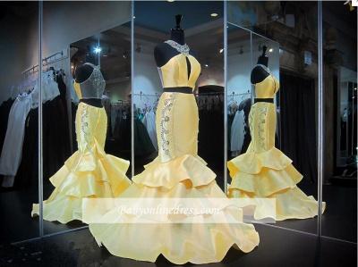 Mermaid Crystals Yellow Halter Gorgeous Zipper Ruffles Sleeveless Evening Gown_1