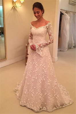 Off-the-Shoulder Buttons Appliques Long-Sleeves A-Line Lace Wedding Dresses_2
