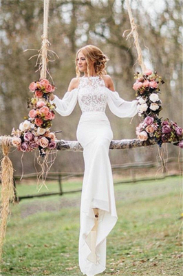 Long Sleeves Lace Elegant Chiffon Mermaid Wedding Dresses | Fit and Flare Bridal Dresses_1