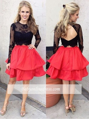 Chic Lace A-line Long-Sleeves Black Two-Piece Red Homecoming Dresses_1
