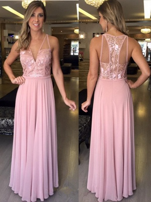 A-Line V-Neck Pink Sleeveless Lace Long Chiffon Prom Dresses_2