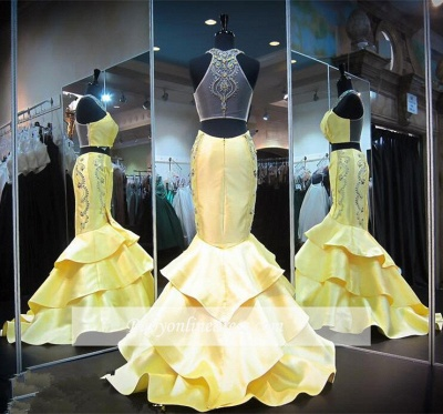 Mermaid Crystals Yellow Halter Gorgeous Zipper Ruffles Sleeveless Evening Gown_3
