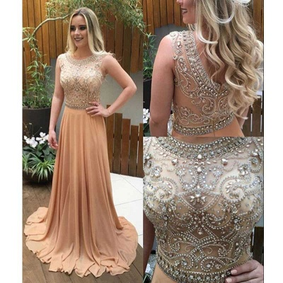 Luxury Champagne Long Chiffon Prom Dresses A-line Crystals-Beaded Evening Gowns_3