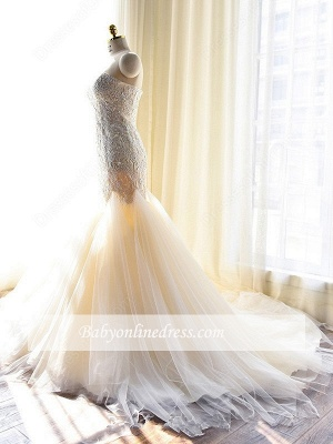 Gorgeous Lace Appliques Tulle Sweetheart Mermaid Wedding Dress_1