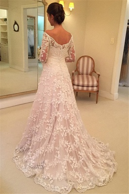 Off-the-Shoulder Buttons Appliques Long-Sleeves A-Line Lace Wedding Dresses_4