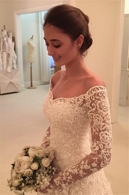 Off-the-Shoulder Buttons Appliques Long-Sleeves A-Line Lace Wedding Dresses_3