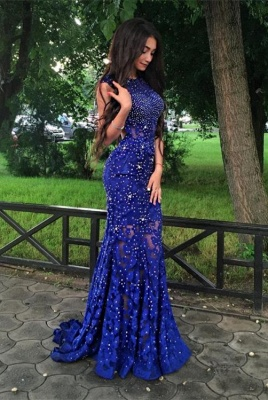 Gorgeous Royal-Blue Mermaid Prom Dress Sleeveless Lace-Appliques Evening Gowns with Beadings BA4876_2