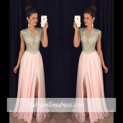 Luxury Pink Front Slit Prom Dresses 2018 A-line Beaded Crystals Long Evening Gowns_1