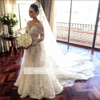 Royal Tulle Glamorous Sleeve Beadings Long Lace Wedding Dresses_1
