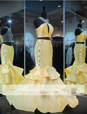 Mermaid Crystals Yellow Halter Gorgeous Zipper Ruffles Sleeveless Evening Gown_4