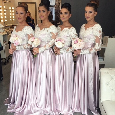 White-Lace Long-Sleeve Pink V-neck Popular Elegant Bridesmaid Dress_3
