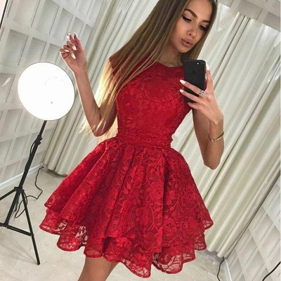 Chic Ruby A-Line Homecoming Dresses | Scoop Sleeveless 2 Layers Mini Cocktail Dresses_3