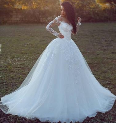 Appliques Tulle Ball Long-Sleeves Glamorous Wedding Dresses_3
