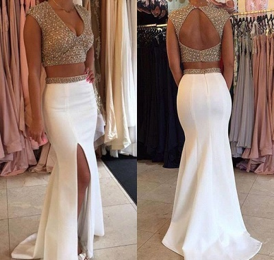 Sexy Two Pieces V-Neck Prom Dress Mermaid Open Back Party Gowns_3