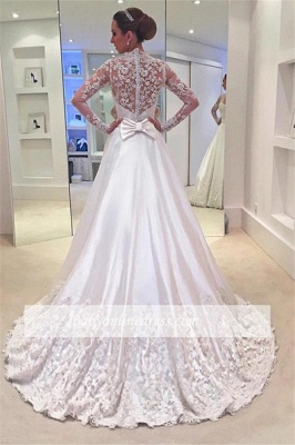 Appliques A-Line Long-Sleeves Bridal Gowns Sweep Train Bowknot Wedding Dresses_1