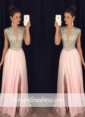 Luxury Pink Front Slit Prom Dresses 2018 A-line Beaded Crystals Long Evening Gowns_3