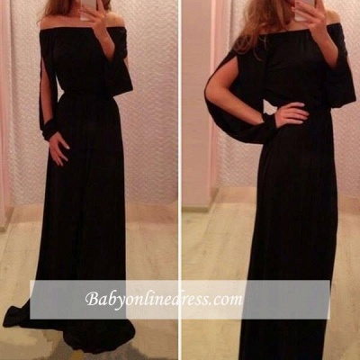 Chiffon Black Summer Long-Sleeve A-Line Off-the-Shoulder Prom Dresses_2