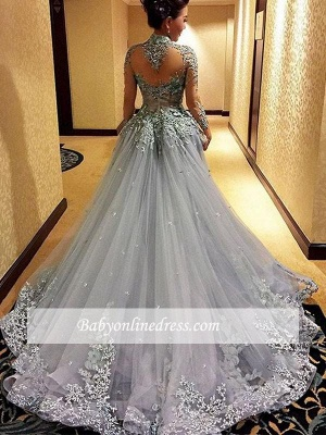 Modest High-Neck Appliques Prom Dress 2018 Tulle Long-Sleeves Evening Gowns_3