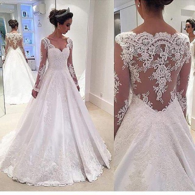 Sheer Long-Sleeves Lace Appliques Elegant A-line Wedding Dresses_3