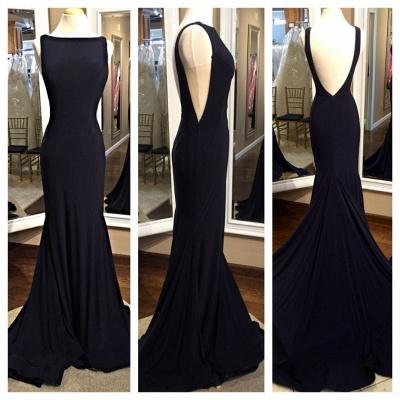 Sexy Black Sheath Prom Dress Backless Bateau evening dress_3