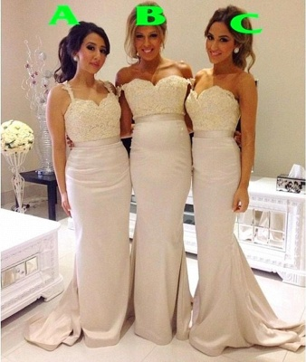 Lace Mermaid Bridesmaid Dresses Sweep Train Simple Party Gowns_1