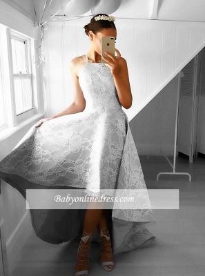 A-line Lace Hi-Lo Halter Sleeveless Elegant Prom Dresses_1