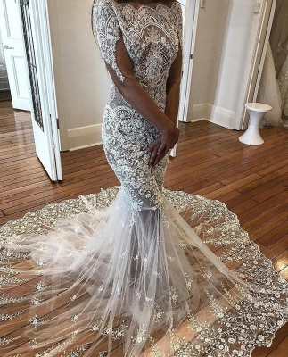 Delicate Lace Mermaid Wedding Dresses | See-Through Off-The-Shoulder Bridal Gowns_4