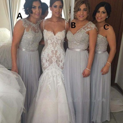 Silver Beaded Chiffon Bridesmaid Dresses Ruched Floor Length A-line Wedding Party Dresses_3