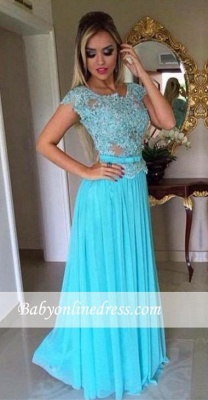 Appliques Scoop Short-Sleeves A-Line Chiffon Prom Dress_3