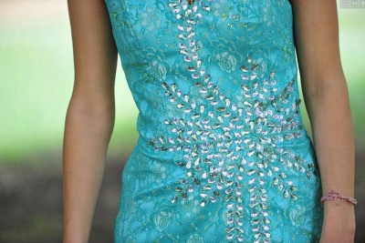 Sexy One Shoulder Beadings Crystals Sleeveless Short Lace Prom Cocktail Dress_2