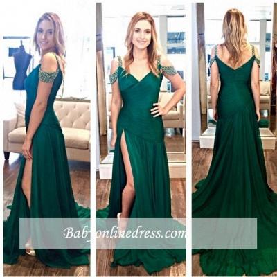 Zipper Crystal Long Split Ruffles Green A-Line Evening Dresses_1