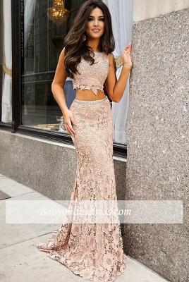 Short-Sleeve Lace Jewel Mermaid Sweep-Train Two-Piece Prom Dress_1